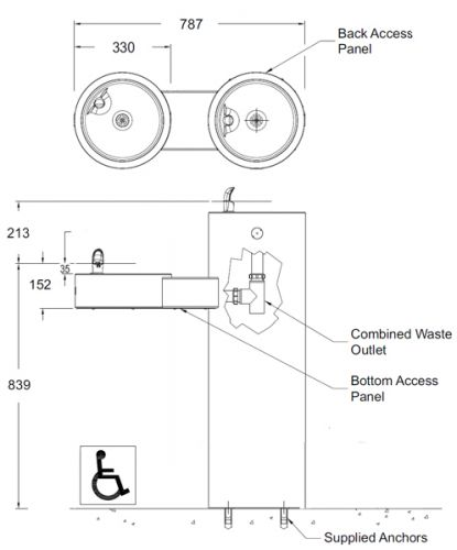 dual height drinking fountain dimensions