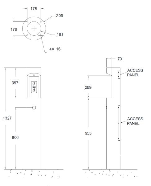 outdoor pedestal bottle filler dimensions