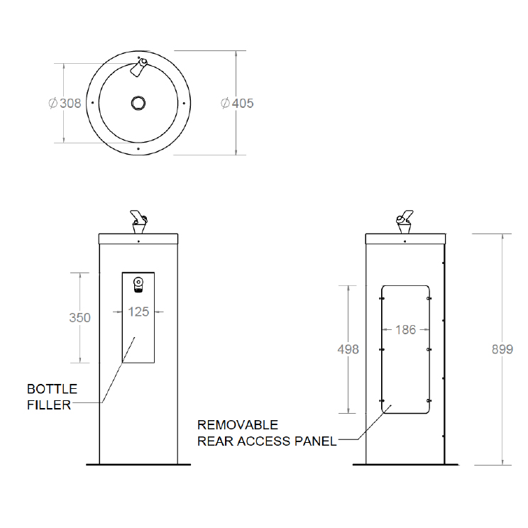 rounded combination drinking fountain and bottle filler dimensions
