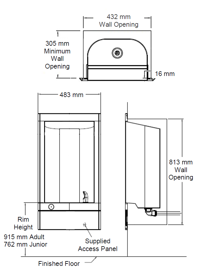 recessed drinking fountain dimensions