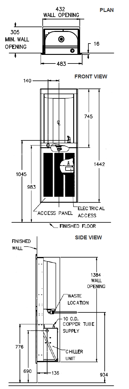 recessed water cooler dimensions